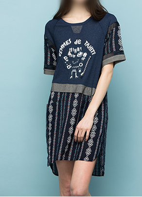 女装|轻盈舒适可选色压线半连衣裙
