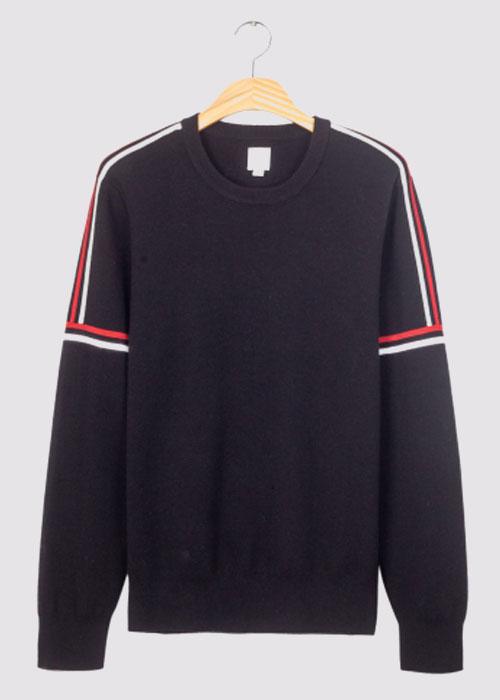 男装|羊毛混纺衣袖条纹圆领毛衣